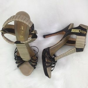 LAMB 7.5 Strappy Side Zip T Strap Tan Cage Heels